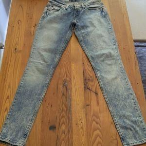 Levi's Too Superlow 524 Acid Wash Skinny Jeans